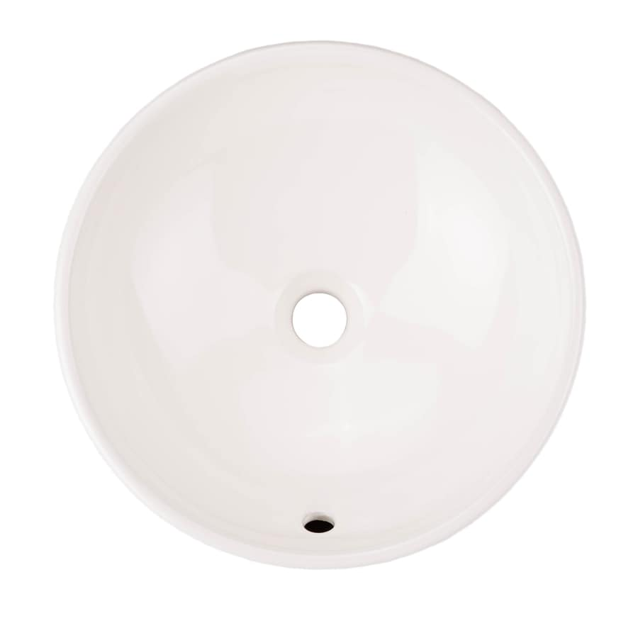 AquaSource White Vessel Round Bathroom Sink With Overflow