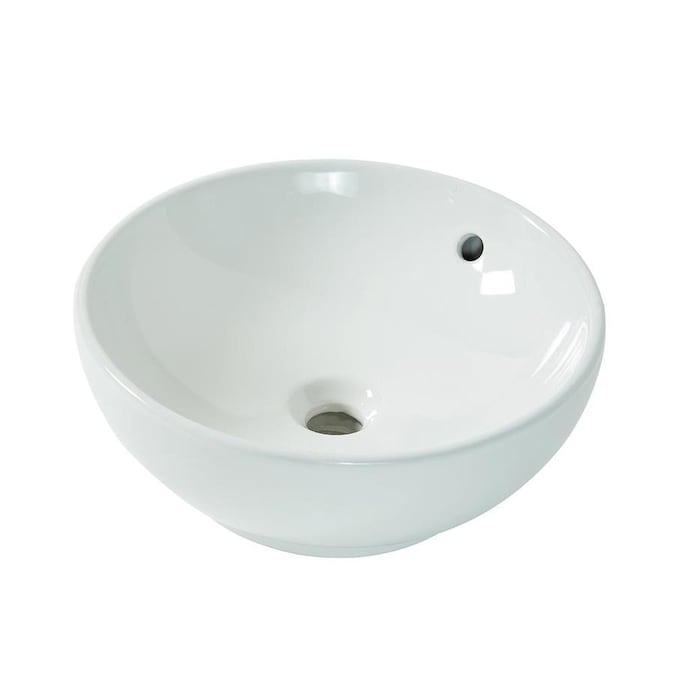 Aquasource White Vessel Round Bathroom Sink With Overflow Drain 15 35 In X 15 35 In In The Bathroom Sinks Department At Lowes Com