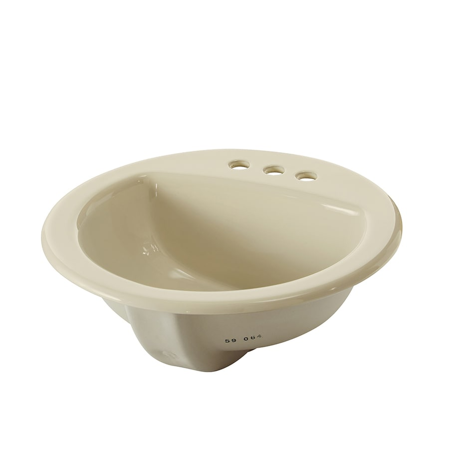 AquaSource Biscuit Drop-in Round Bathroom Sink with Overflow