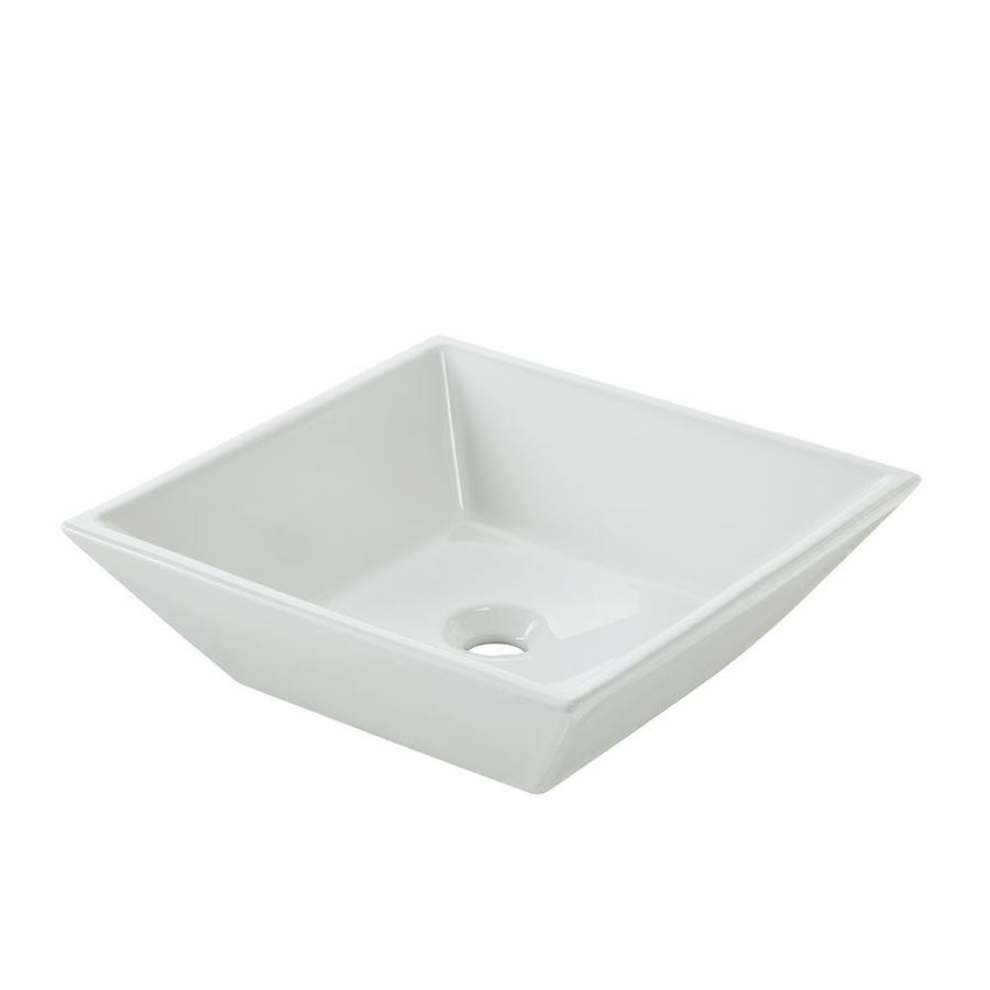 jacuzzi maya white vessel square bathroom sink