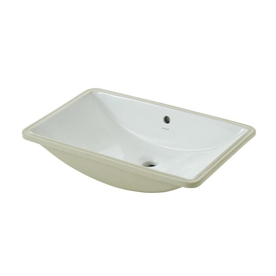 Jacuzzi Mika White Undermount Rectangular Bathroom Sink With Overflow Drain At