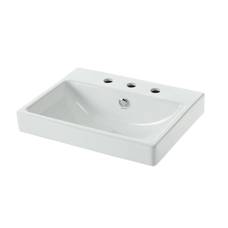 Jacuzzi Anna Farmhouse White Drop In Rectangular Bathroom Sink With Overflow