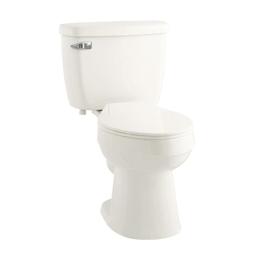 AquaSource 1.28-GPF Oyster WaterSense Elongated Chair Height 2-Piece Toilet