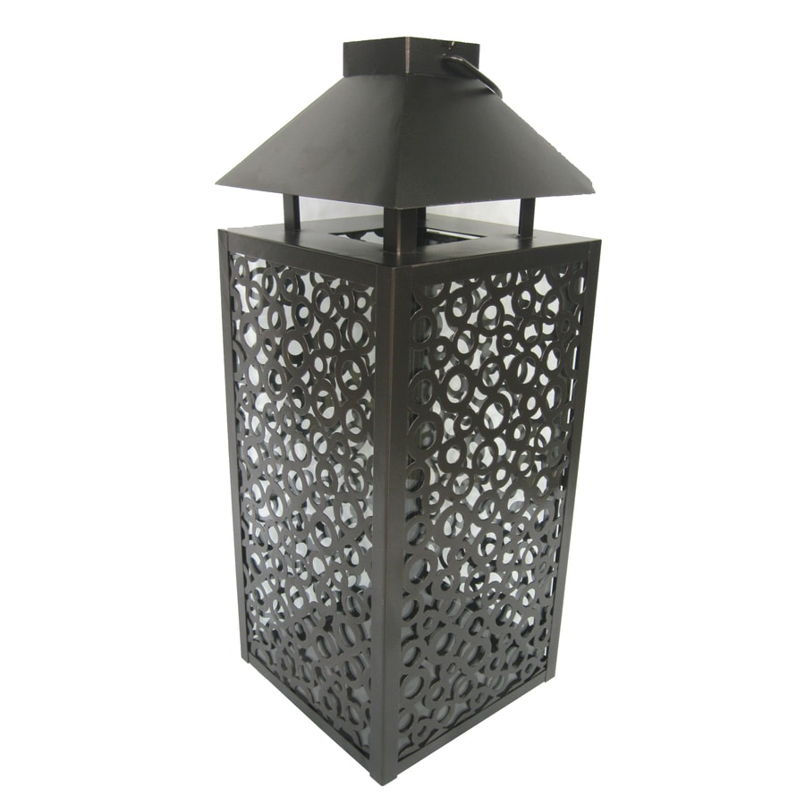 allen + roth 22.8-in H Bronze Metal Outdoor Decorative Lantern