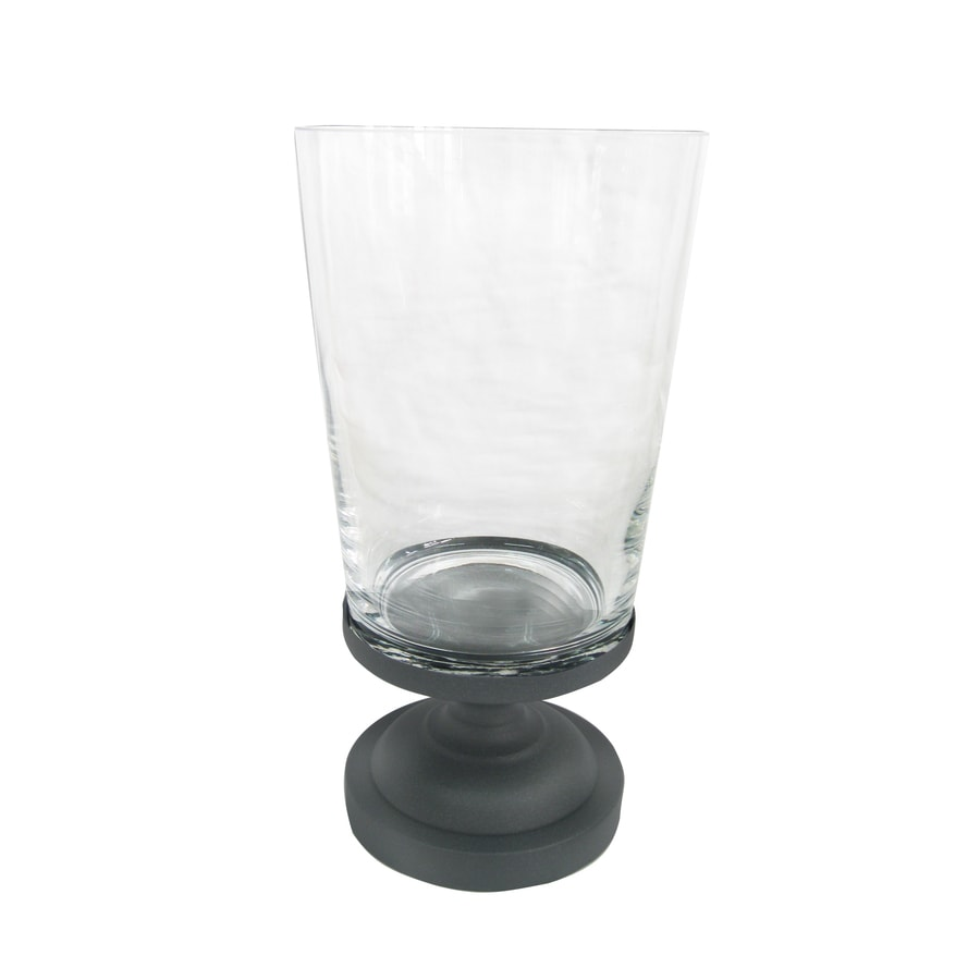 allen + roth 12.2-in H Graphite Metal Pillar Candle Outdoor Decorative Lantern