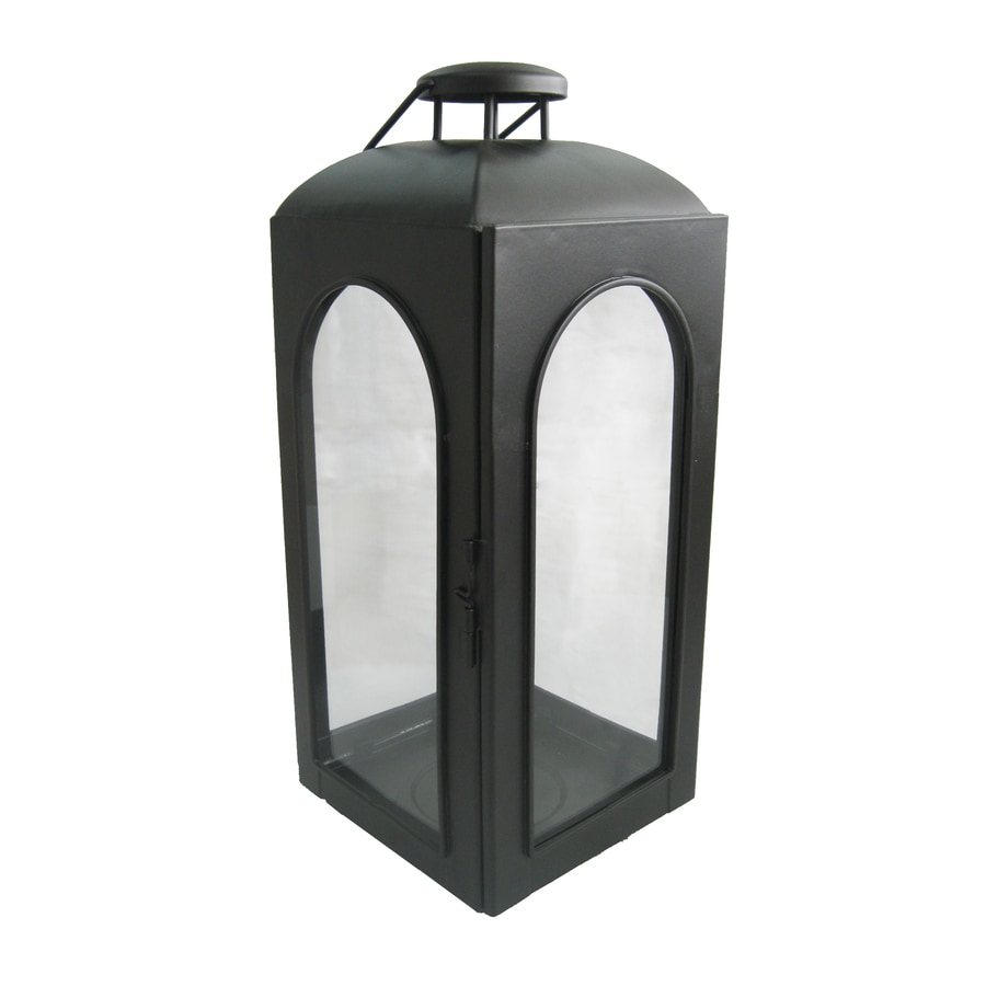 allen + roth 15.35-in Black Metal Pillar Candle Outdoor Decorative Lantern
