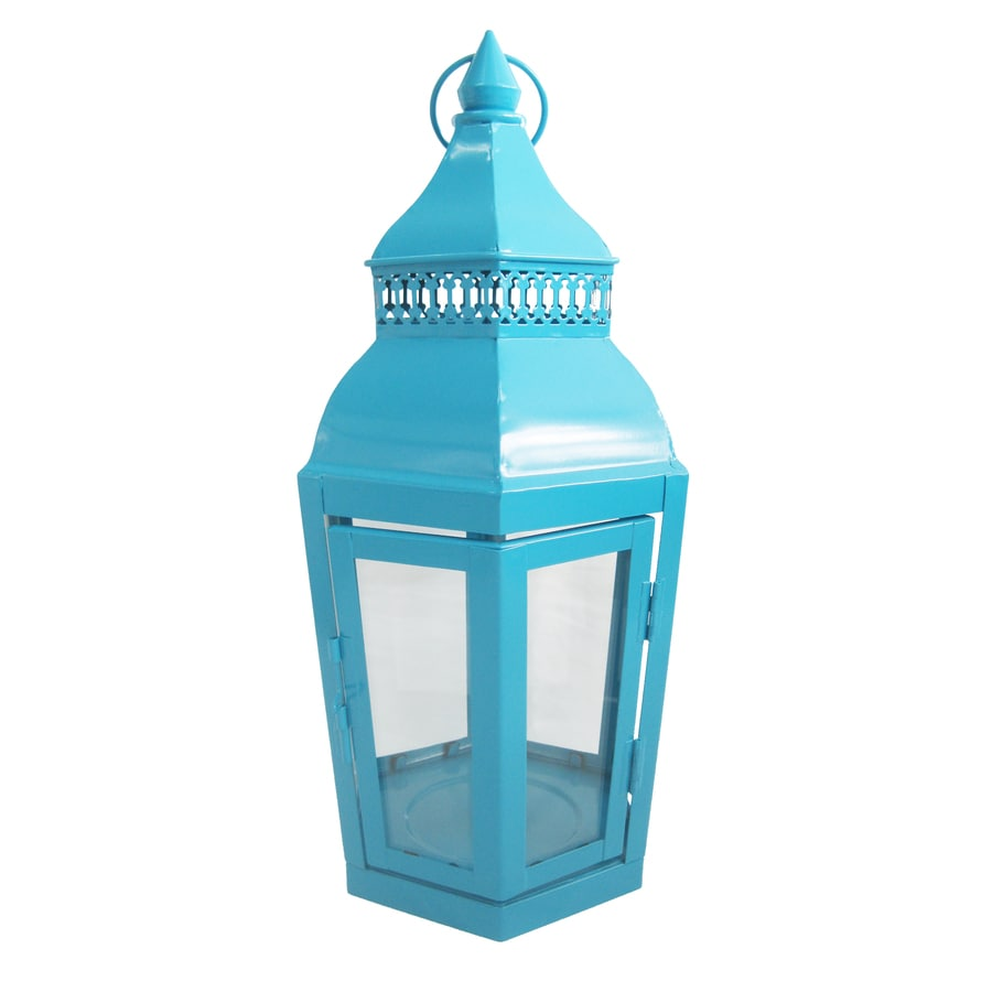 lighting treasures. Garden Treasures 6.1-in X 14.76-in Light Blue Metal Pillar Candle Outdoor Decorative Lighting