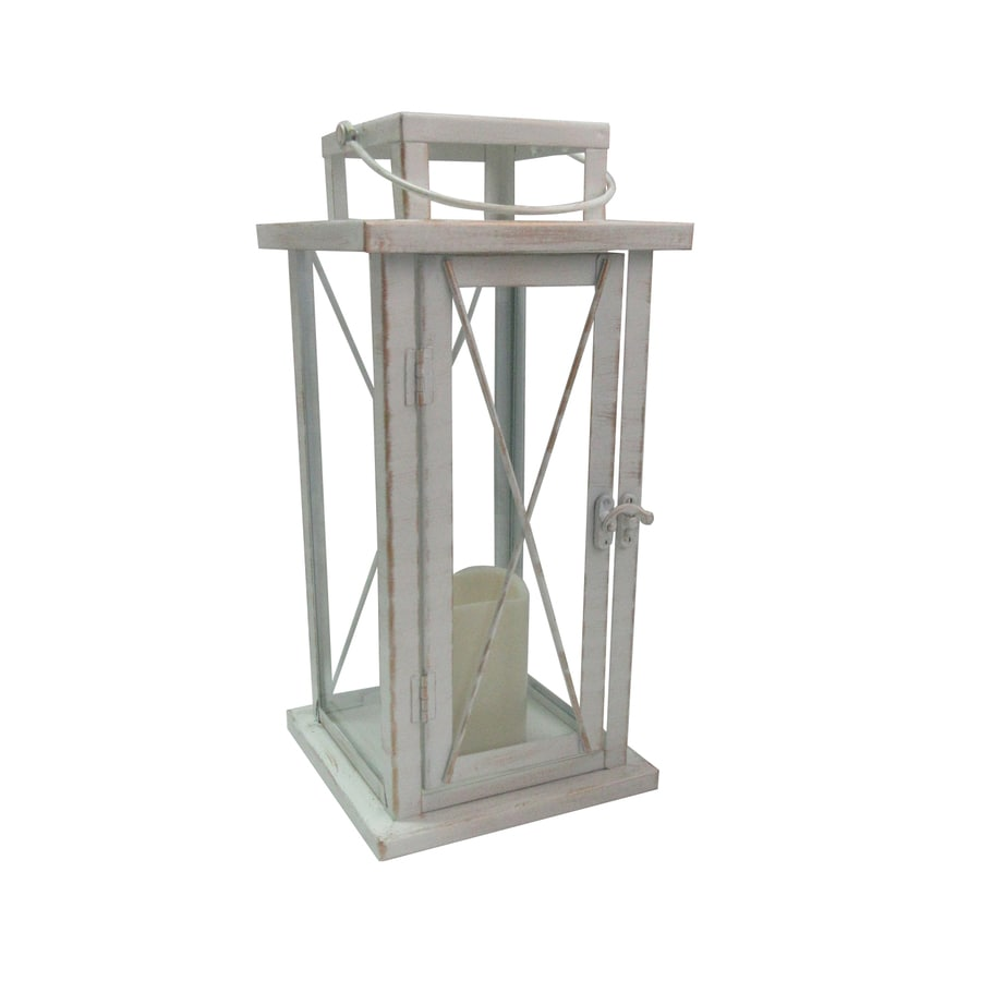 6.69-in x 13.77-in Distressed White Metal Led Light Outdoor Decorative Lantern