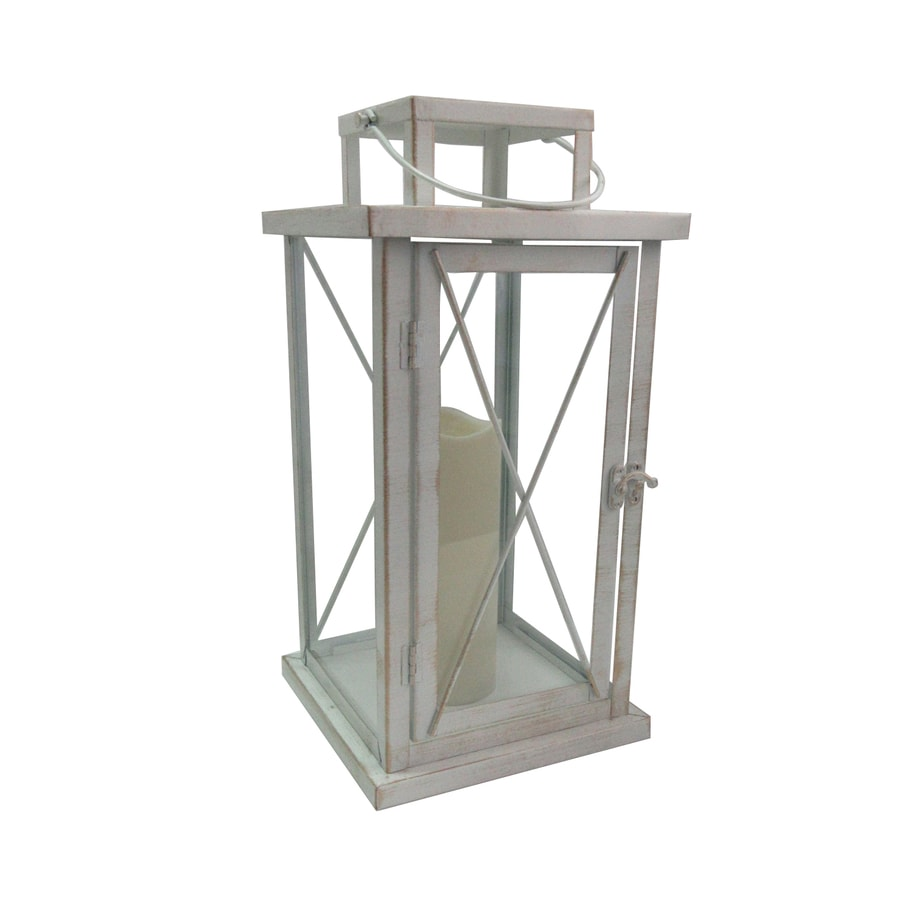 8.07-in x 15.94-in Distressed White Metal Led Light Outdoor Decorative Lantern