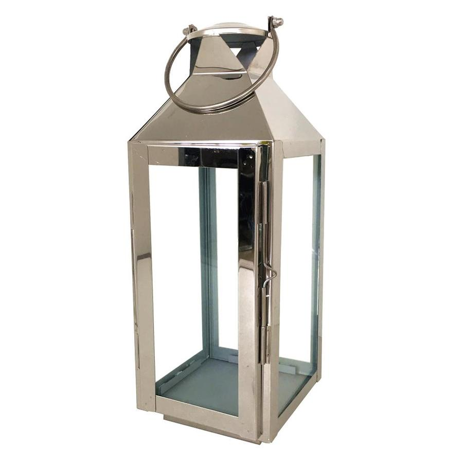 allen + roth 5.51-in x 15.19-in Silver Metal Votive Candle Outdoor Decorative Lantern
