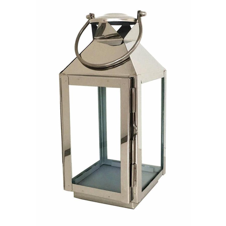 Shop allen roth 5 in x silver metal tea light for Unique outdoor lanterns
