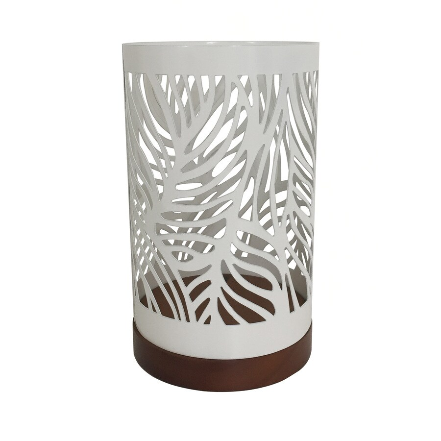 allen + roth 4.65-in x 7.67-in White Metal Pillar Candle Outdoor Decorative Lantern