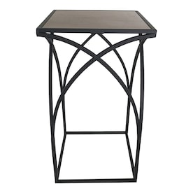 allen + roth 22-in Wood Color Outdoor Square Ceramic Plant Stand