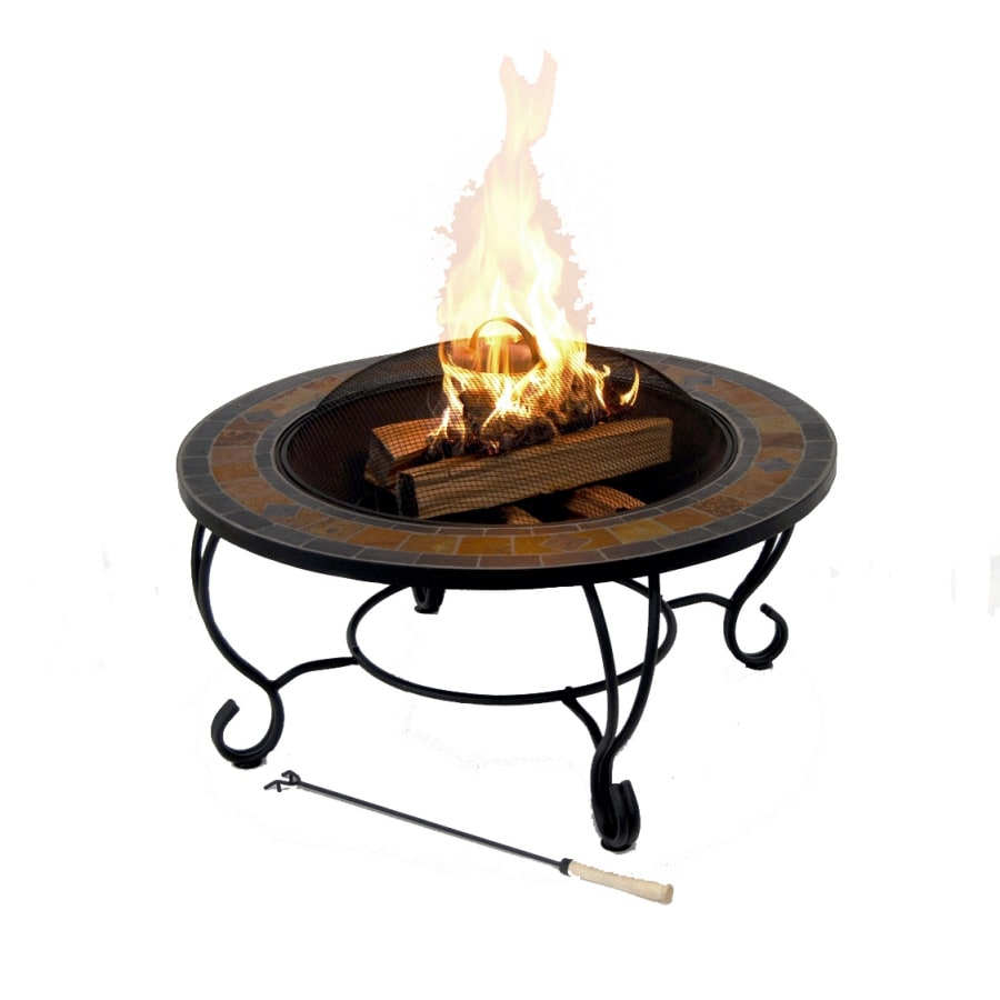 Garden Treasures 35 In Black Steel Wood Burning Fire Pit