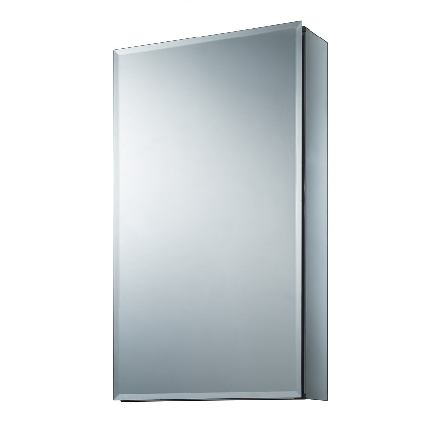 shop medicine cabinets at lowescom - allen  roth in x in rectangle surfacerecessed mirrored aluminum