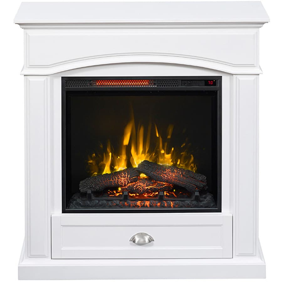 Shop Style Selections 36 5 In W 5 200 Btu White Wood Infrared Quartz Electric Fireplace With