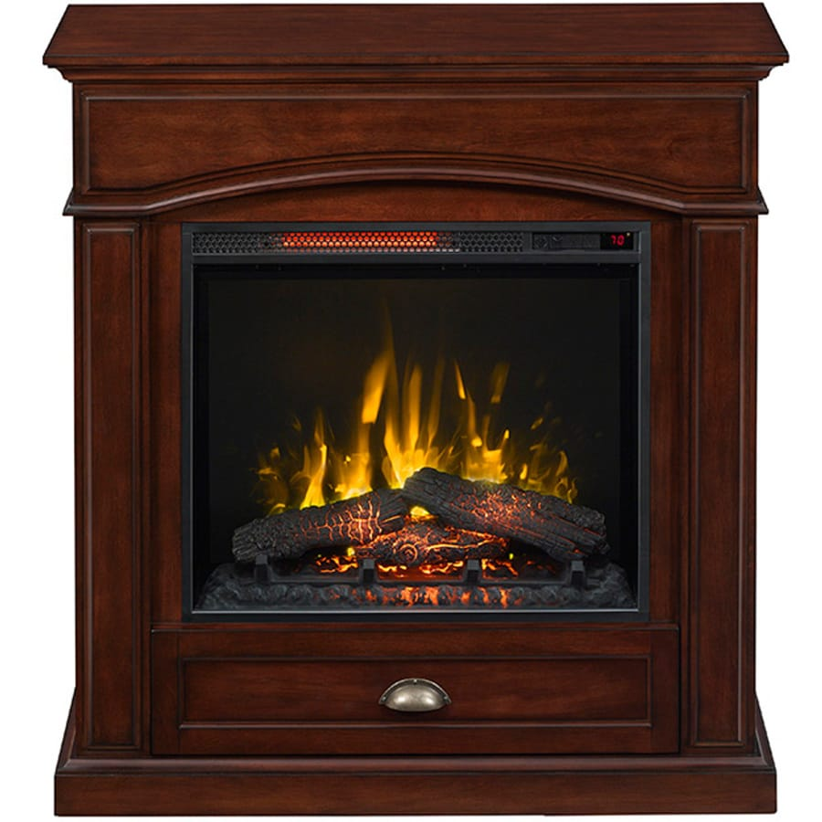 200-BTU Warm Cherry Wood Veneer Infrared Quartz Electric Fireplace with Thermostat and Remote Control at Lowes.com