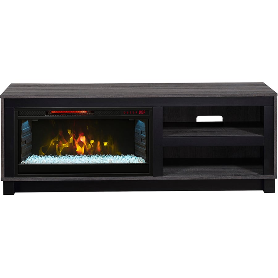 Scott Living 56-in W 5,200-BTU Grey Oak MDF Infrared Quartz Electric Fireplace with Media Mantel, Thermostat and Remote
