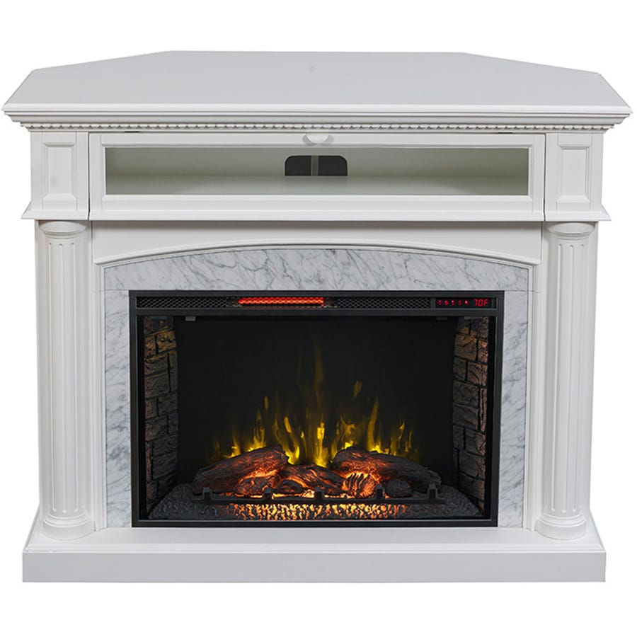 200-BTU White Painted MDF Infrared Quartz Electric Fireplace with Media Mantel