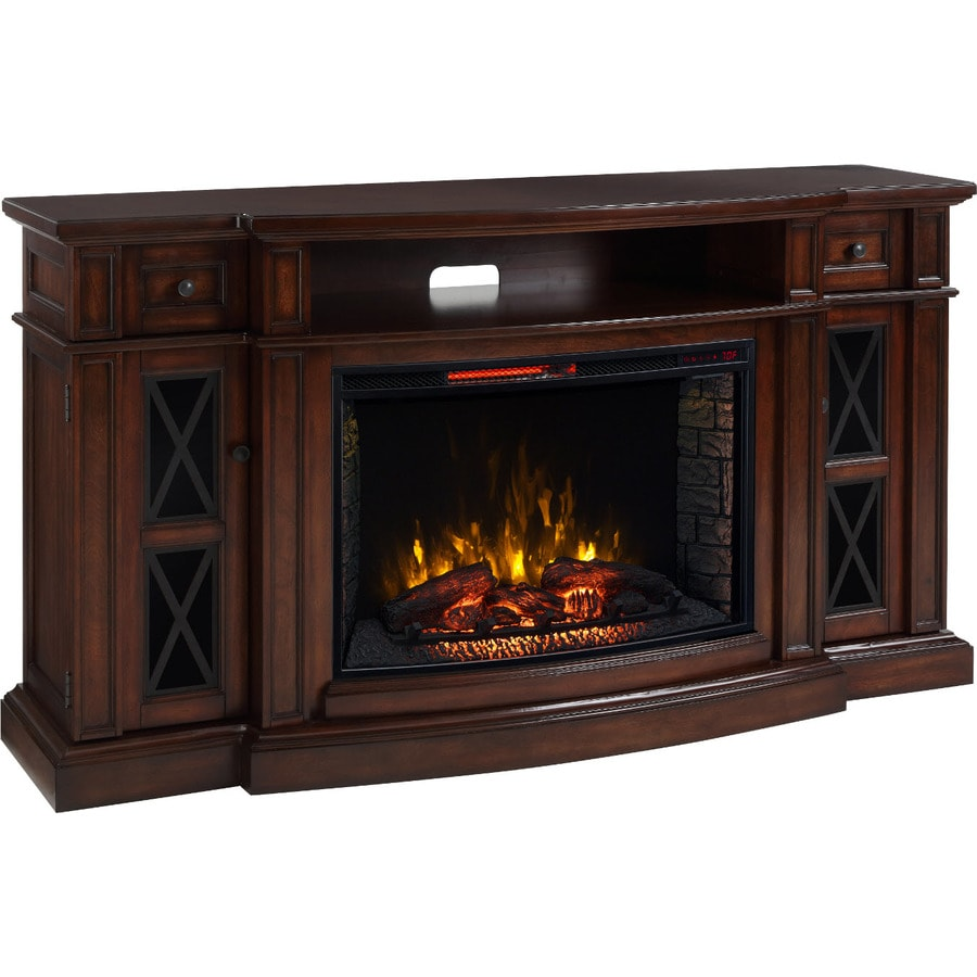 200-BTU Chestnut MDF Infrared Quartz Electric Fireplace with Media Mantel