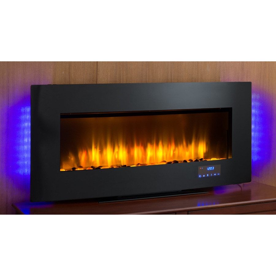 SCOTT LIVING 40-in W 4,600-BTU Black Metal Wall-Mount Infrared Quartz Electric Fireplace with Thermostat and Remote