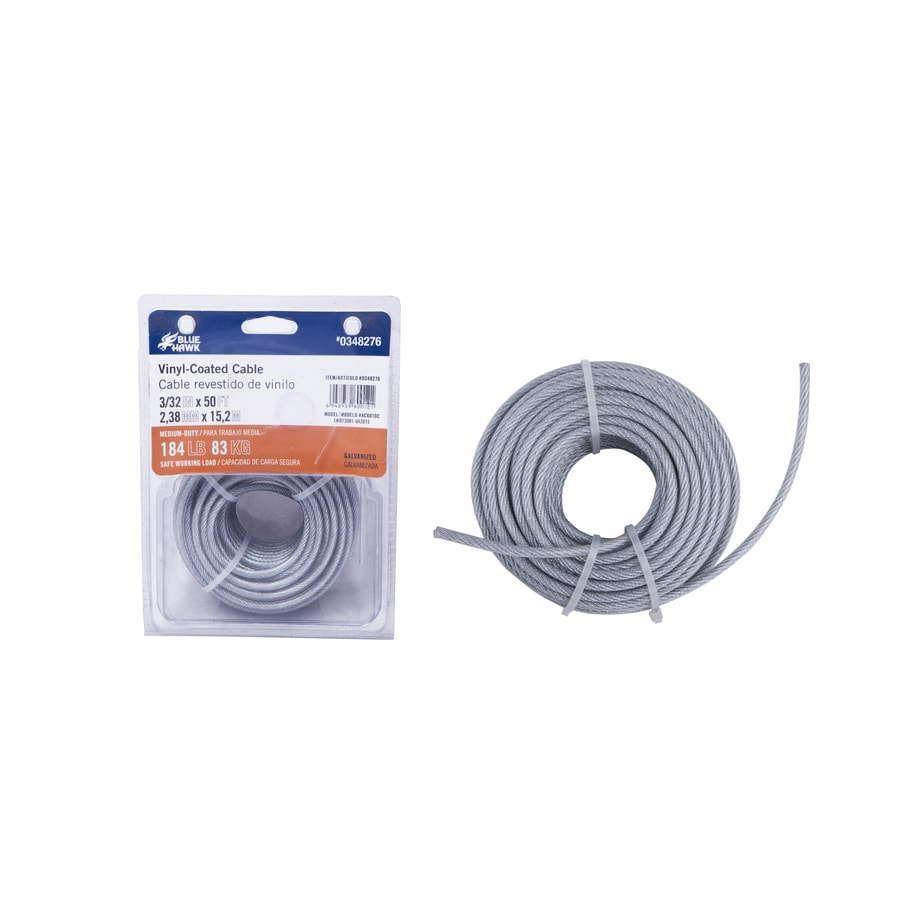 Blue Hawk 50-ft Weldless Galvanized-Vinyl Coated Steel Cable