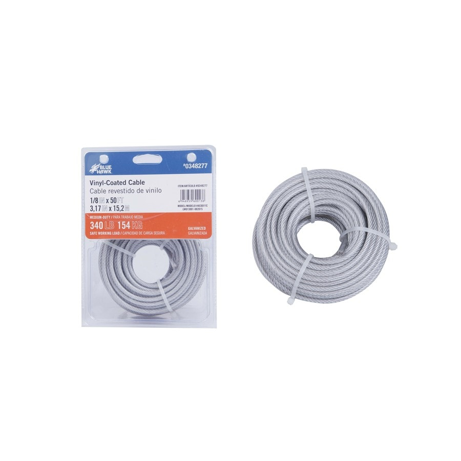 Shop Blue Hawk 50-ft Weldless Galvanized-Vinyl Coated Steel Cable at ...
