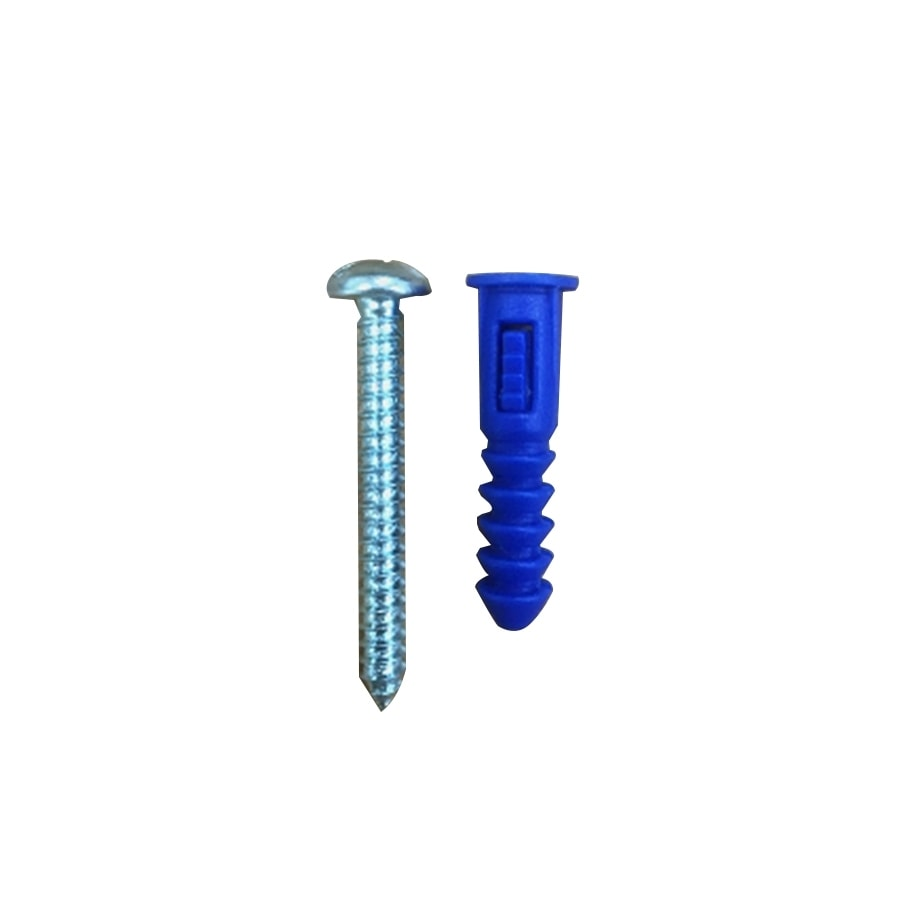 Blue Hawk 100-Pack 1.25-in x 0.277-in Blue Plastic Light-Duty All-Purpose Anchors with Screws