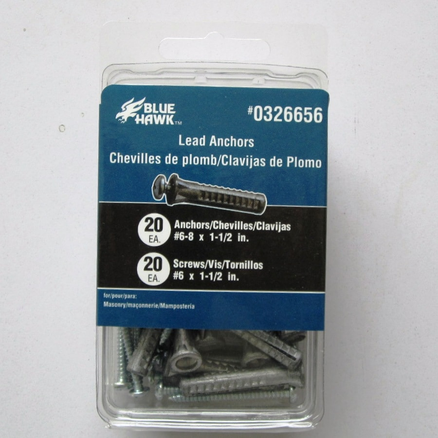 Blue Hawk 20-Pack 0.138-in Zinc-Plated Steel Medium-Duty All-Purpose Anchor with Screws