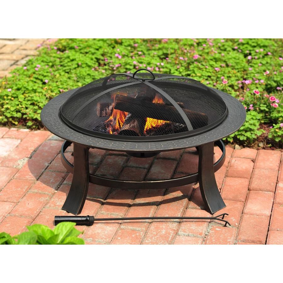 Garden Treasures 30 In Matt Black Steel Wood Burning Fire Pit