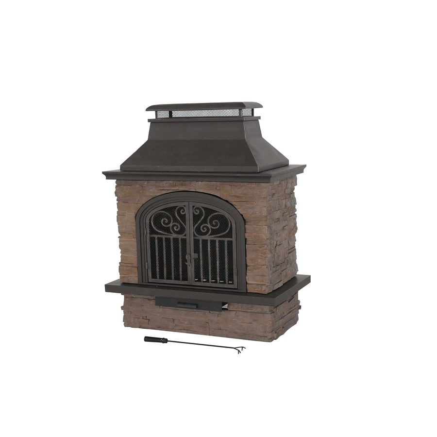 Garden Treasures Antique Bronze Stone Outdoor Wood-Burning Fireplace