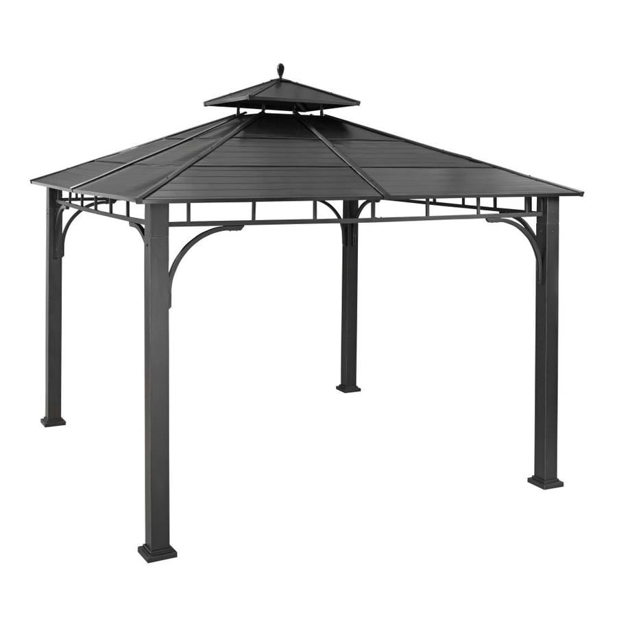 allen + roth Black Metal Square Grill Gazebo (Exterior: 10.2-ft x 10.2-ft; Foundation: 10-ft x 10-ft)
