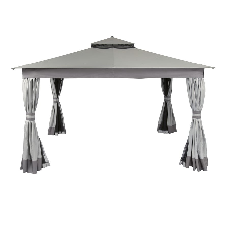 allen + roth 10-ft x 12-ft x 9.51-ft Polyester Roof Black Steel Rectangle Gazebo