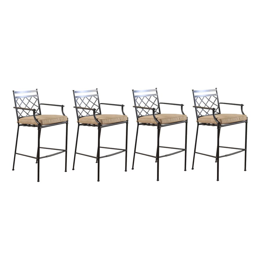 Shop Allen Roth Set Of 4 Safford Cushioned Aluminum Patio Bar Height Chairs At