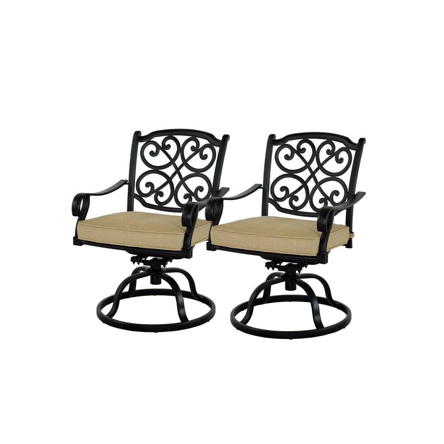 Outdoor Patio Furniture Swivel Rocker: Garden Treasures Set Of 2 Belthorne Black Aluminum Swivel