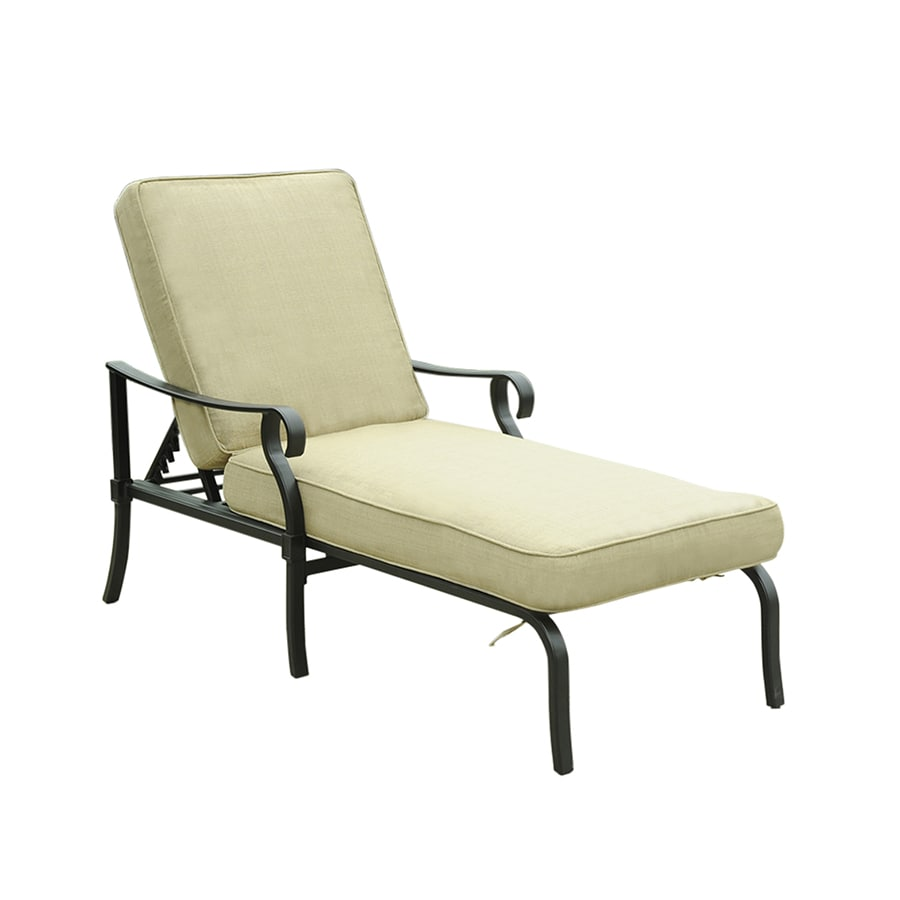 Shop allen roth belthorne count patio chaise lounge for Allen roth steel patio chaise lounge