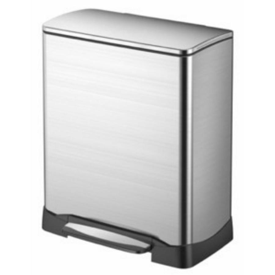 EKO 46-Liter Silver Stainless Steel Indoor Trash Can with Lid