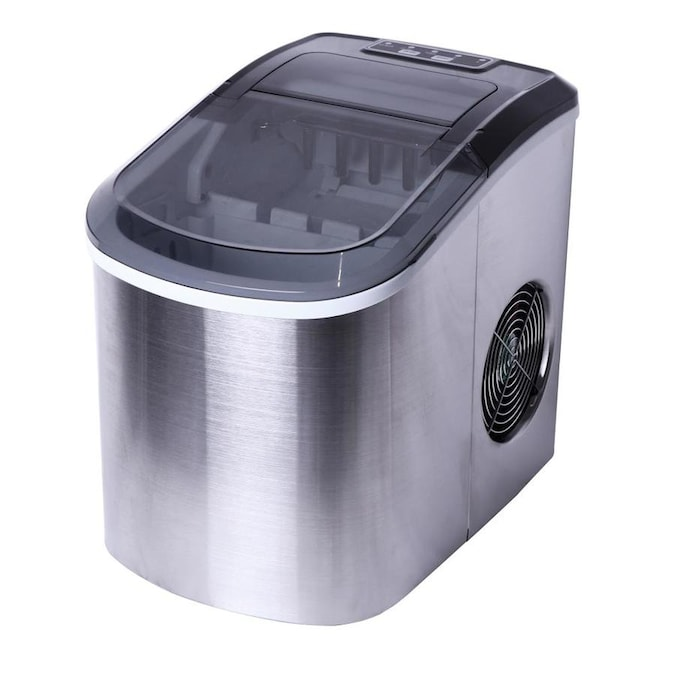 26 Lb Flip Up Door Portable Countertop Bullet Ice Maker Stainless Steel Housing With Balck Top Cover In The Ice Makers Department At Lowes Com