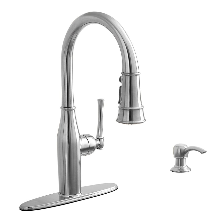 Shop AquaSource Stainless Steel 1-Handle Pull-Down Kitchen Faucet ...