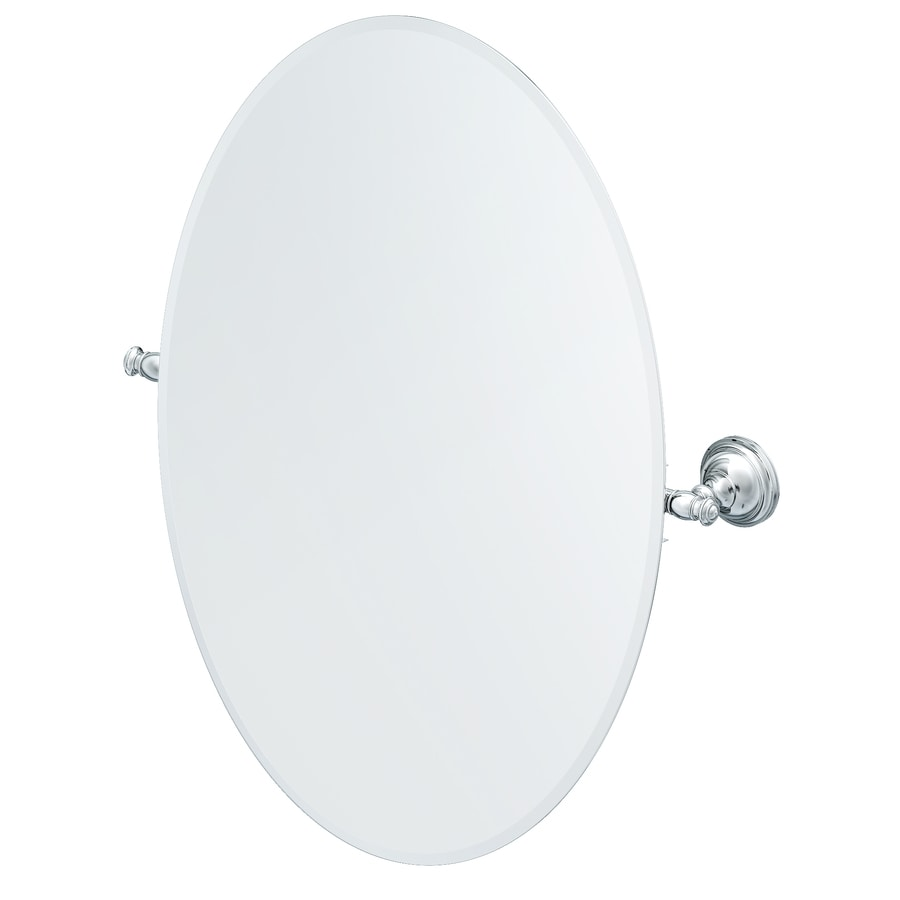 Shop Allen Roth Raleigh 3 4 In W X 26 In H Oval Tilting Frameless Bathroom Mirror With