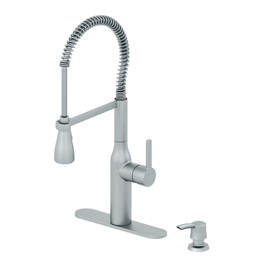 shop aquasource stainless steel 1 handle pull down kitchen faucet