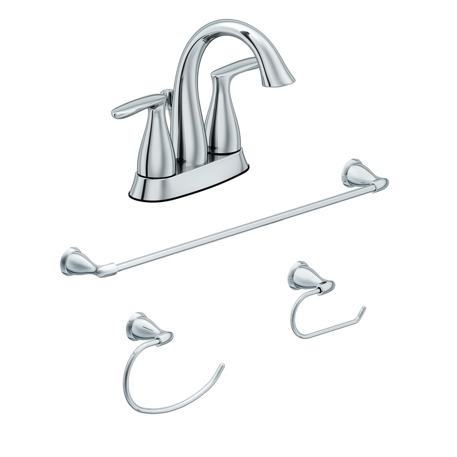 AquaSource 4-Piece Polished Chrome Decorative Bathroom Hardware Set