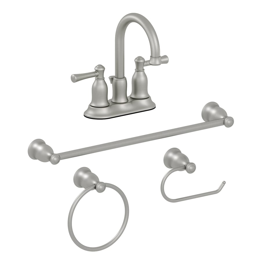Shop AquaSource 4-Piece Brushed Nickel Pvd Decorative Bathroom ... on bathroom toilet seat cover sets, bathroom hand towel holder, bathroom hardware product, bathroom decor sets, bathroom rug and tank set, bathroom rugs and toilet tank covers, bathroom hardware sets black,