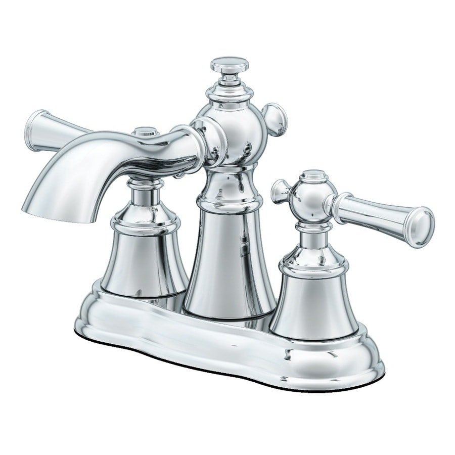 AquaSource Glyndon Polished Chrome 2-Handle 4-in Centerset WaterSense Bathroom Faucet (Drain Included)
