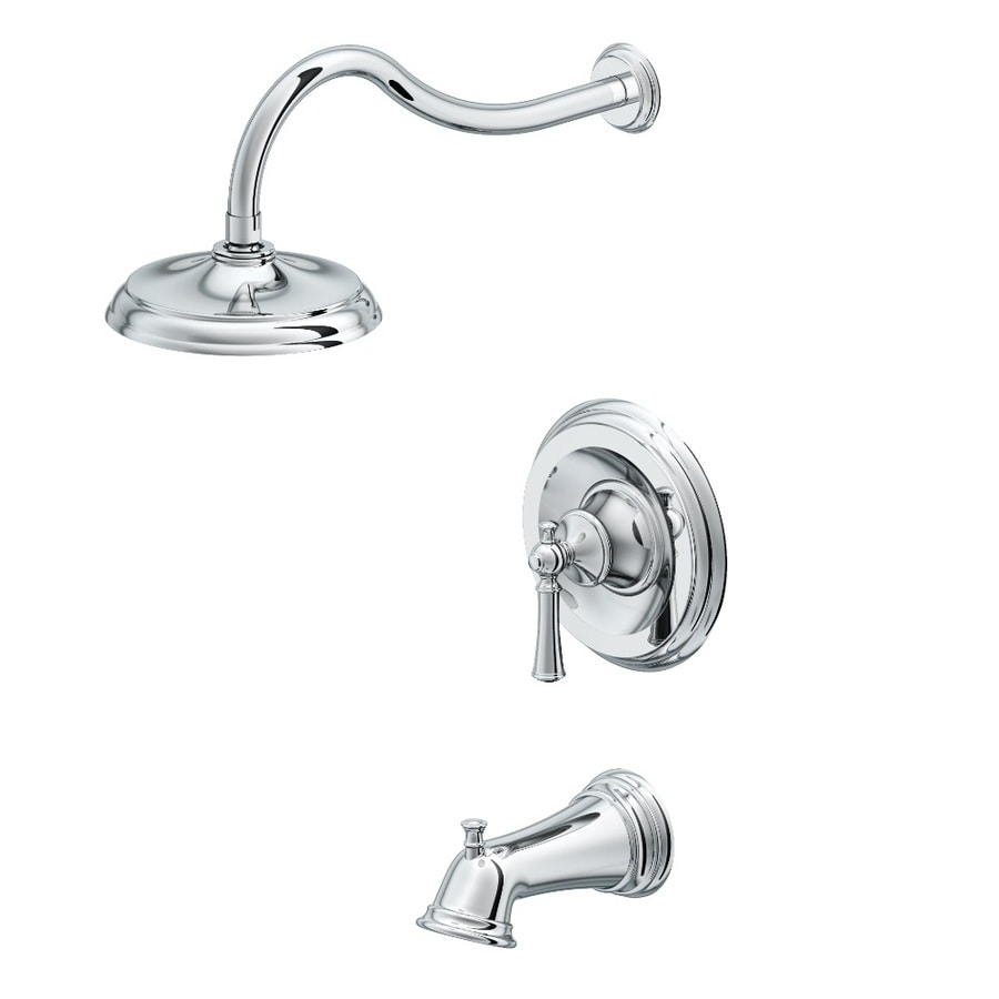 Shop Aquasource Glyndon Polished Chrome 1 Handle Watersense Bathtub And Shower Faucet With Rain