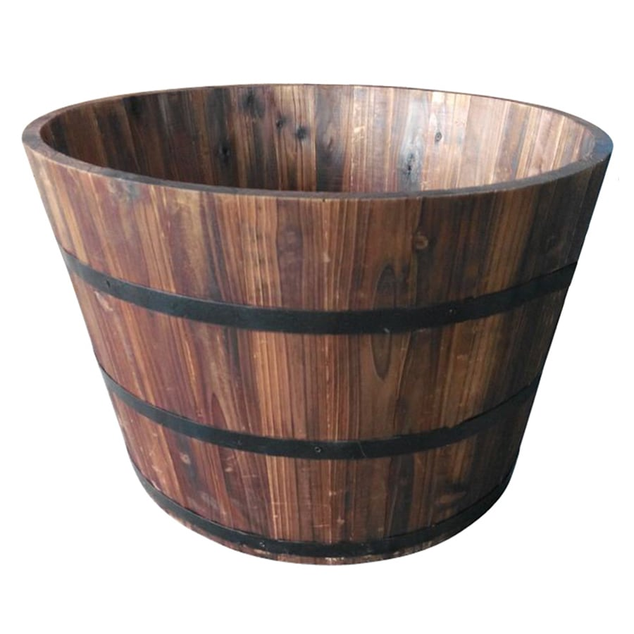 Garden Treasures 25.98 In X 16.93 In Carbonize Wood Barrel