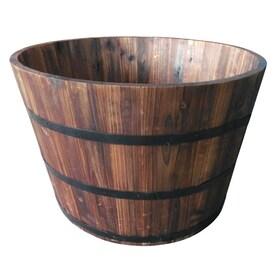 Garden Treasures 25.98-in W x 16.93-in H Carbonize Wood Barrel