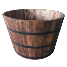 Garden Treasures 25.98-in W x 16.93-in H Carbonize Wood Barrel