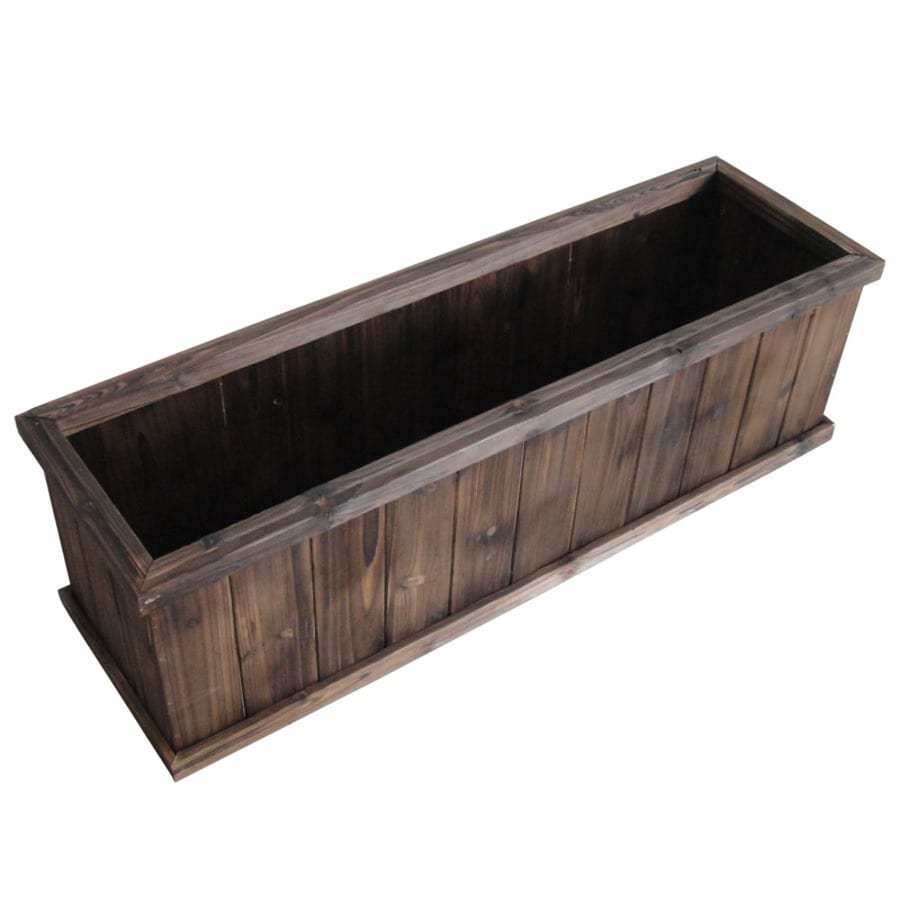 Garden Treasures 39.96 In X 12 In Brown Wood Traditional Window Box
