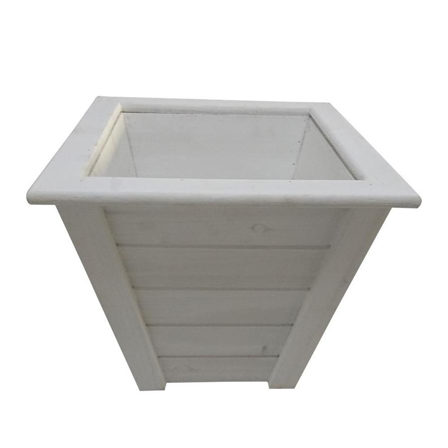 13 98 In H White Wood Planter
